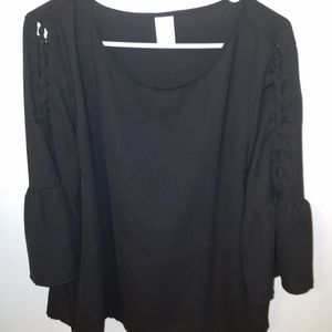 Black bell sleeve lace up top XL